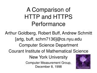 A Comparison of  HTTP and HTTPS  Performance