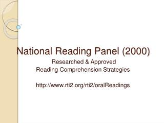 National Reading Panel 2000