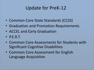 Update for PreK-12
