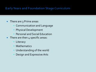 Early Years and Foundation Stage Curriculum