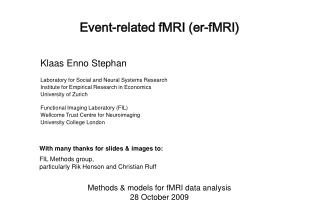 Event-related fMRI er-fMRI