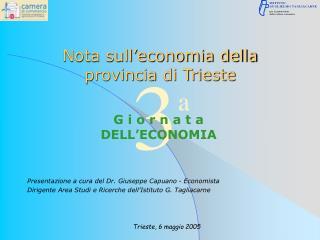 Nota sull economia della provincia di Trieste