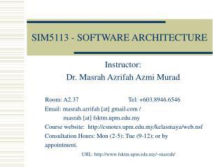 SIM5113 - SOFTWARE ARCHITECTURE