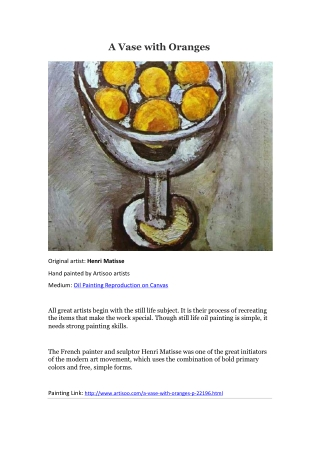 A Vase with Oranges--Artisoo