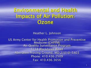 Environmental and Health Impacts of Air Pollution: Ozone