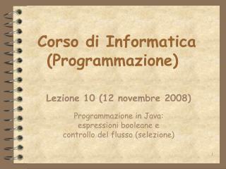 Corso di Informatica Programmazione