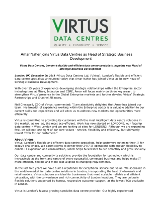 Amar Naher joins Virtus Data Centres as Head of Strategic Bu