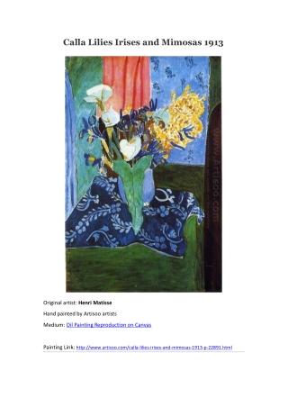 Calla Lilies Irises and Mimosas 1913 --Artisoo