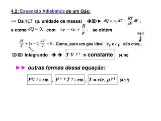 4.2: Expans o Adiab tica de um G s:    Da 1LT  p