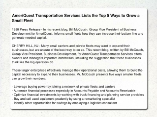 AmeriQuest Transportation Services Lists the Top 5 Ways