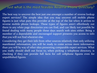 US Reverse Phone Directory