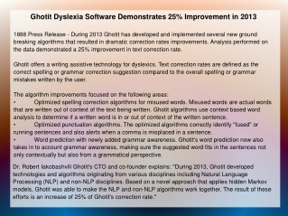Ghotit Dyslexia Software Demonstrates 25% Improvement