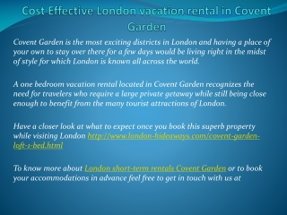 Cost Effective London vacation rental in Covent Garden