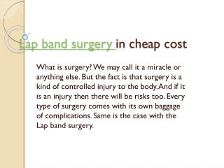 Lap Band Surgery in Cheap Cost