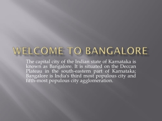 Bangalore travel guide and flights