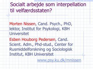 Socialt arbejde som interpellation til velf rdsstaten