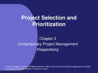 Project Selection and Prioritization