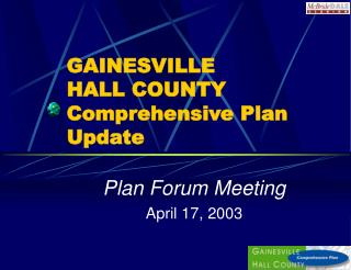 GAINESVILLE  HALL COUNTY Comprehensive Plan Update