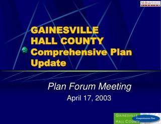 GAINESVILLE  HALL COUNTY Comprehensive Plan Update
