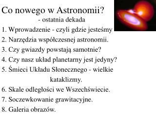 Co nowego w Astronomii