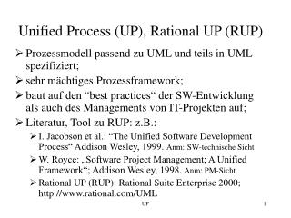 Unified Process UP, Rational UP RUP