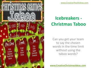 Icebreakers - Christmas Taboo