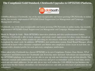 the compliance gold standard, clickbooth upgrades to optizmo