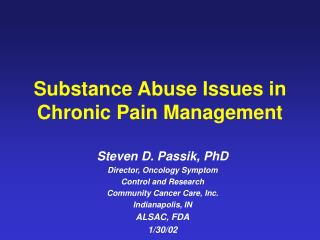 substance abuse issues in chronic pain management