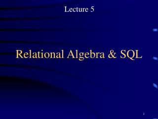 relational algebra  sql