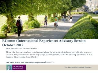 BComm International Experience Advisory Session  October 2012