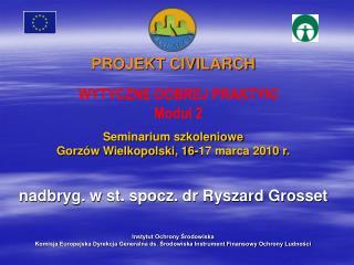 PROJEKT CIVILARCH    Seminarium szkoleniowe  Gorz w Wielkopolski, 16-17 marca 2010 r.   nadbryg. w st. spocz. dr Ryszard