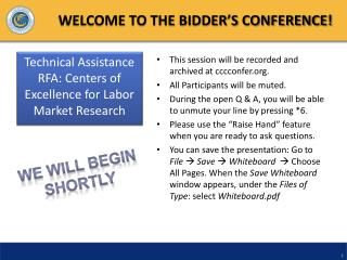 WELCOME TO THE BIDDER S CONFERENCE