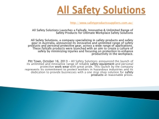 Safety product suppliers