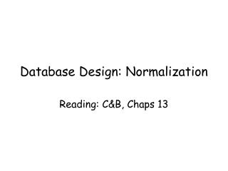 database design: normalization