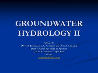 GROUNDWATER HYDROLOGY II