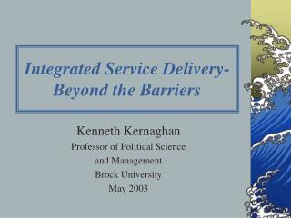 integrated service delivery- beyond the barriers