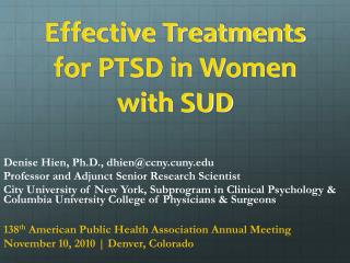Effective Treatments for PTSD in Women with SUD