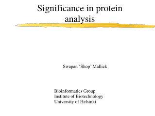 Bioinformatics Group Institute of Biotechnology University of Helsinki