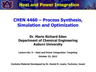 Heat and Power Integration