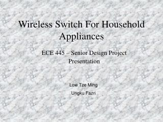 Wireless Switch For Household Appliances