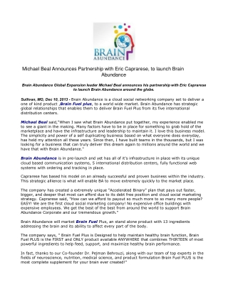 Michael Beal Announces Partnership with Eric Caprarese,