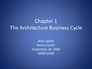 Chapter 1 The Architecture Business Cycle