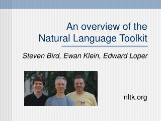 An overview of the Natural Language Toolkit