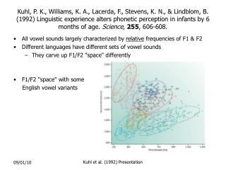 Kuhl, P. K., Williams, K. A., Lacerda, F., Stevens, K. N.,  Lindblom, B. 1992 Linguistic experience alters phonetic perc