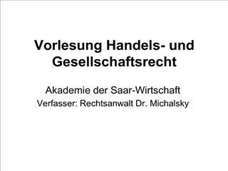 vorlesung handels- und gesellschaftsrecht