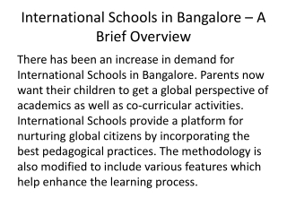 International Schools in Electronic City, Bangalore -A Brief