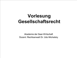 vorlesung gesellschaftsrecht