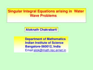 singular integral equations arising in  water                         wave problems