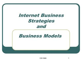 Internet Business Strategies  and