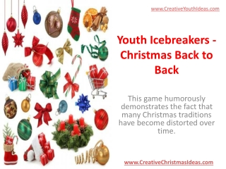 Youth Icebreakers - Christmas Back to Back